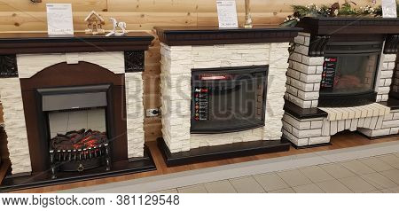 Russia, St. Petersburg 15,12,2018 Fireplaces In A Home Goods Store