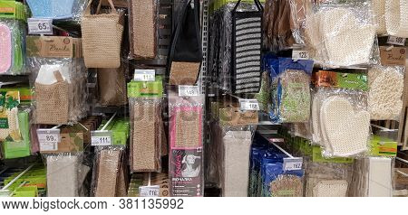 Russia, St. Petersburg 01,02,2019 Various Washcloths And Bath Accessories On Sale In The Store