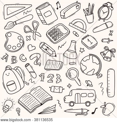 Vector Seamless Doodle Pattern School And School Supplies, Stationery, Books, Backpacks, School Bus.