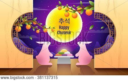 Happy Chuseok, Mid Autumn Festival. Rabbits , Moon Festival , Thanksgiving In Korea ,vector Illustra