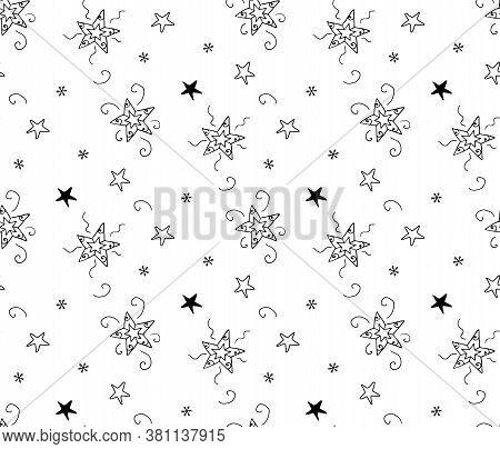 Stars, Snowflake Hand Drawn Coloring Book Seamless Rare Pattern. Black Ornamental Christmas Items On