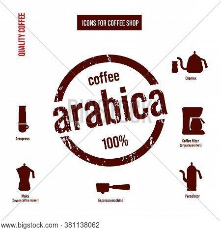 Cafe Icons Set. Ways To Make Coffee.
