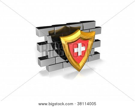 red security shield on a wall