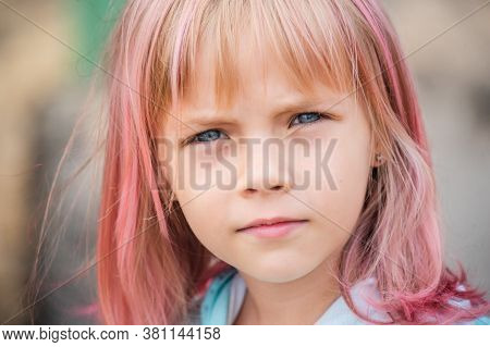 Cute Child Girl Portrait . Outdoor Portrait Of Cute Little Girl In Summer Day. Portrait. Child 7-8 Y
