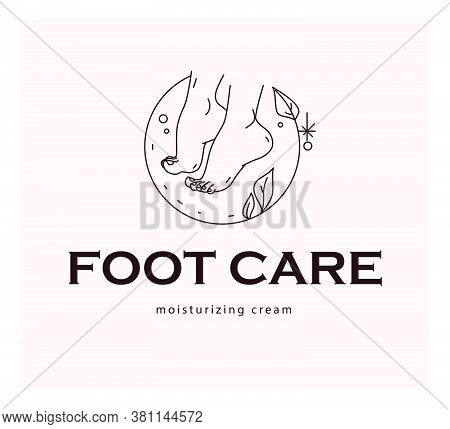 Foot Care Logo Design With Pair Of Bare Woman Feet Arranged Together And Some Decorative Elements Is