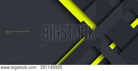 Banner Web Design Template Gray And Green Geometric Stripes Overlapping With Shadow On Dark Backgrou