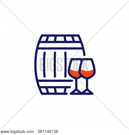 Wine Barrel And Glasses Line Icon. Linear Style Sign For Mobile Concept And Web Design. Wood Barrel