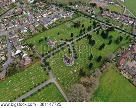 Aerial View Of Wimborne Minister Cemetery Showing Twin Chapel Buildings And Graveyard In Neat Parkla