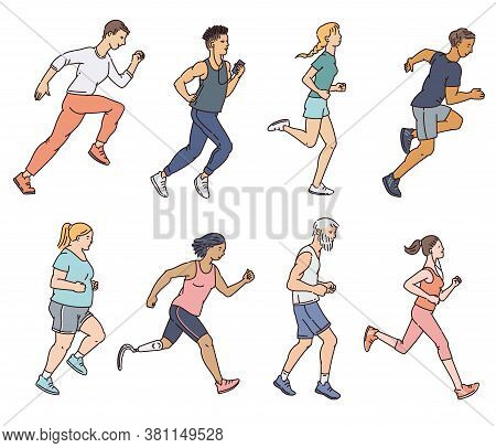 Diverse Age And Body Shape Marathon Runners - Vector Illustrations Set Isolated.
