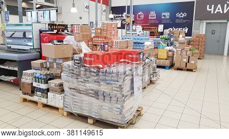 Russia, St. Petersburg 22.03.2020 Buckwheat Groats And Other Groats In A Supermarket During The Coro