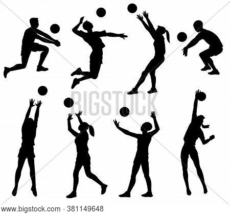 Volleyball Player Black Silhouette Set Isolated On White Background.
