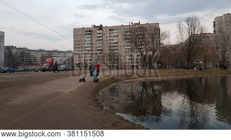 Russia, St. Petersburg 04.04.2020 People Violating The Regime Of Self-isolation In The Square During