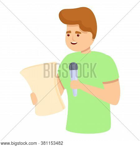 Boy Podcast Singing Icon. Cartoon Of Boy Podcast Singing Vector Icon For Web Design Isolated On Whit