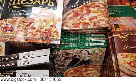 Assorted Of Frozen Foods Display For Sell In The Supermarket.