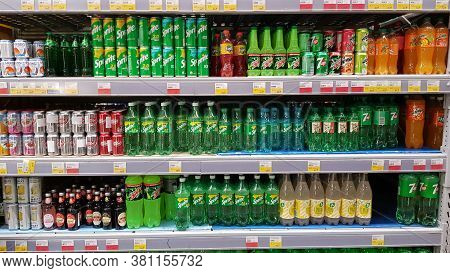 Russia, St. Petersburg 11.05.2020 Carbonated Drinks On The Shelves In The Supermarket During The Cor