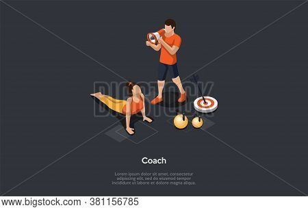 Health And Popular Sport Activities Concept. Girl Exercising Doing Push-ups Under The Fitness Coach