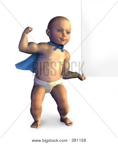 Super Baby Lifting Edge Of Blank Sign