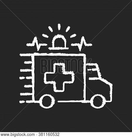 Emergency Chalk White Icon On Black Background. Ambulance. Emergency Response. Accident Department.