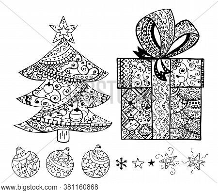 Stars, Christmas Balls Hand Drawn Coloring Book Seamless Rare Pattern. Black Ornamental Christmas It