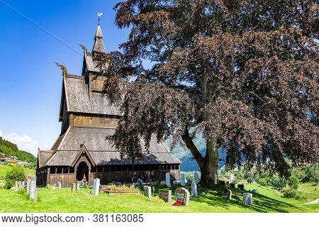 Vik, Sogn Og Fordjane, Norway, Scandinavia - July 28, 2019: Hopperstad Stave Church Just Outside The