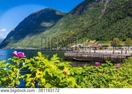 Vik, Sogn Og Fordjane, Norway, Scandinavia - July 28, 2019: People Swimming In Sognefjord On A Hot S