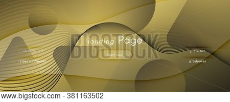 Abstract Vector Curve. Gold Dynamic Background. 3d Flow Lines. Creative Texture. Golden Abstract Vec