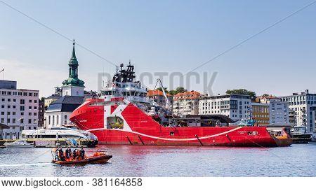 Bergen, Norway, Scandinavia - July 30, 2019: Kl Saltfjord Vessel A Large Powerful Anchor Handler In