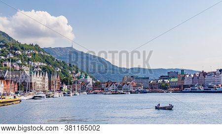 Bergen, Norway, Scandinavia - July 30, 2019: Panoramic View Of The Historical Buildings Of The City