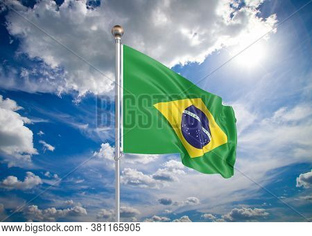 Realistic Flag. 3d Illustration. Colored Waving Flag Of Brazil On Sunny Blue Sky Background.
