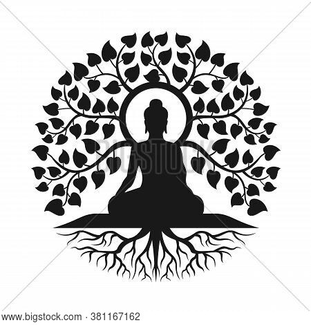 Black Buddha Meditation Under Bodhi Tree With Leaf And Root Abstract Circle Style Vector Design