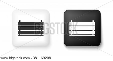 Black And White Wooden Box Icon Isolated On White Background. Grocery Basket, Storehouse Crate. Empt