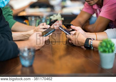 Teamwork Meeting Group Of Friends Join Mobile Phone Together Concept