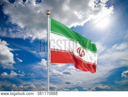Realistic Flag. 3d Illustration. Colored Waving Flag Of Iran On Sunny Blue Sky Background.