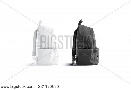 Blank Black And White Closed Backpack With Zipper Mockup Set, 3d Rendering. Empty Cloth Rucksack For