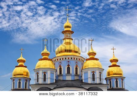 Golden domes of St. Michael Cathedral in Kiev Ukraine poster