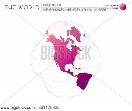 Low Poly World Map. Modified Stereographic Projection For The Conterminous United States Of The Worl