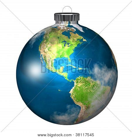 Christmas Tree Bulb Ornament as Planet Earth on White Background