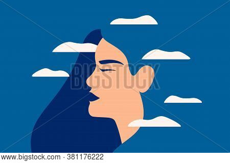 A Sad Young Woman Has A Clouded Mind On Blue Background. A Depressed Girl Suffers From Temporary Mem