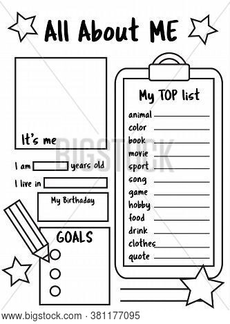 All About Me. Writing Prompt For Kids. Educational Children Page. Back To School Theme