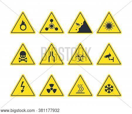 Road Signs Set. Yellow Warning Symbols Danger Of Loose Soil Radioactive Alarm Lethal Electrical Volt