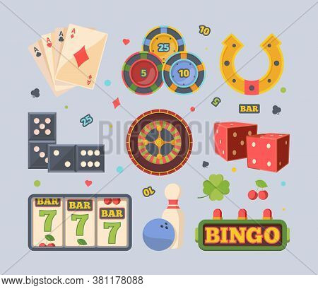 Gambling Casino Set. Three Sevens Bingo Bowling Red Square Dice Roulette With Bets Dominoes Yellow H