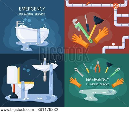 Emergency Plumbing Illustration Set. Blocked Drain In Water Outlet Pipe Streams Dirty Water Pouring