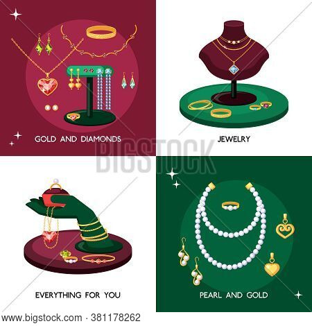 Jewelry Accessories Illustration Set. Expensive Jewelry Made Of Gold And Precious Stones Necklaces W