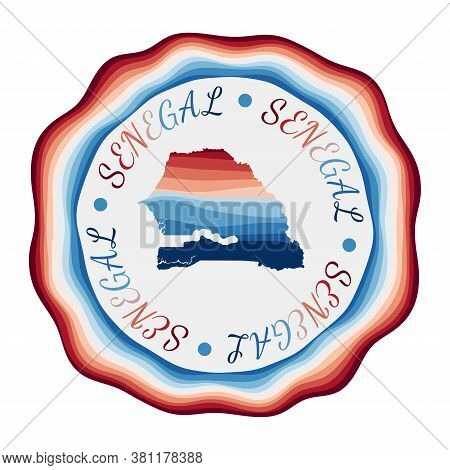 Senegal Badge. Map Of The Country With Beautiful Geometric Waves And Vibrant Red Blue Frame. Vivid R