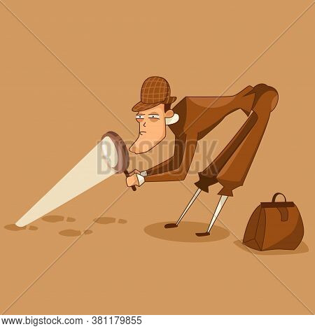 Detective In The Hat Is Looking For Clues Through A Magnifying Glass Character. Vector Illustration