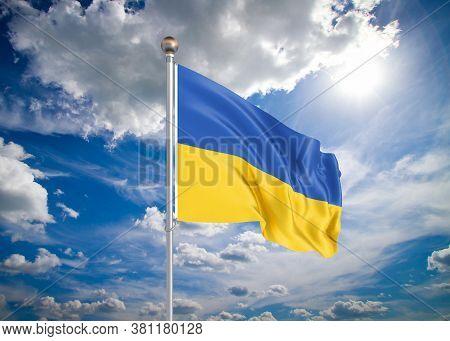 Realistic Flag. 3d Illustration. Colored Waving Flag Of Ukraine On Sunny Blue Sky Background.