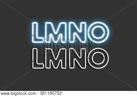 Decorative L M N O Letters, Neon Font Mock Up, 3d Rendering. Blue Xenon Facia For Casino Or Club Moc