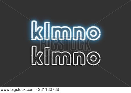 Decorative K L M N O Letters, Neon Font Mockup, 3d Rendering. Lighting Decor Initial For Signboard S