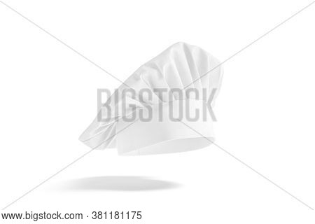 Blank White Toque Chef Hat Mockup, Side View, No Gravity, 3d Rendering. Empty Rofessional Headdress
