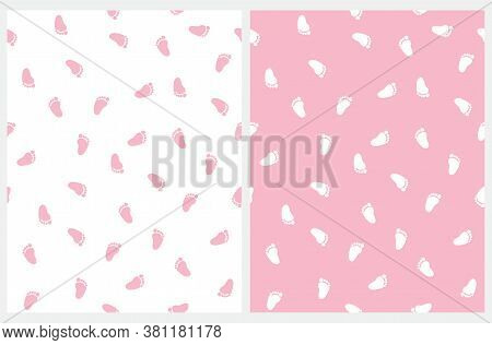 Baby Shower Seamless Vector Pattern With Pink And White Little Footprints. Pink Baby Feet Isolated O